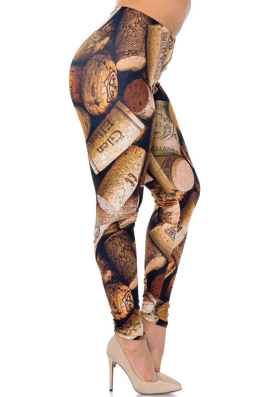 Right side of Creamy Soft Wine Cork Plus Size Leggings - USA Fashion™