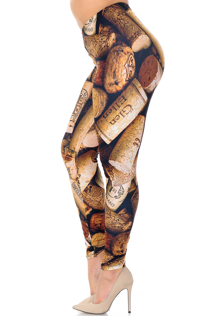 Left side of Creamy Soft Wine Cork Plus Size Leggings - USA Fashion™