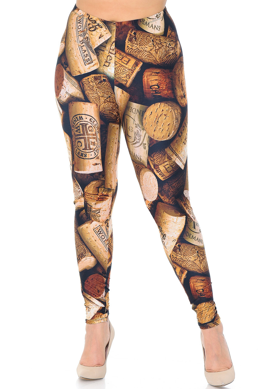 Our mid rise Creamy Soft Wine Cork Extra Plus Size Leggings - 3X-5 - USA Fashion™ features a comfortable elastic waistband.
