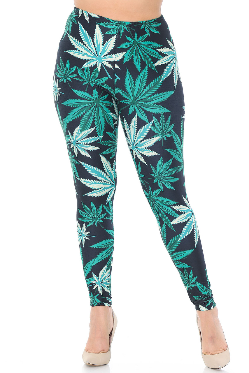 Front view of our 420 friendly Creamy Soft Black Weed Plus Size Leggings  - USA Fashion™ that will instantly give your outfit a fun and sassy touch.