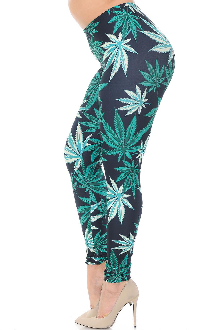 Left side of Creamy Soft Black Weed Plus Size Leggings - USA Fashion™