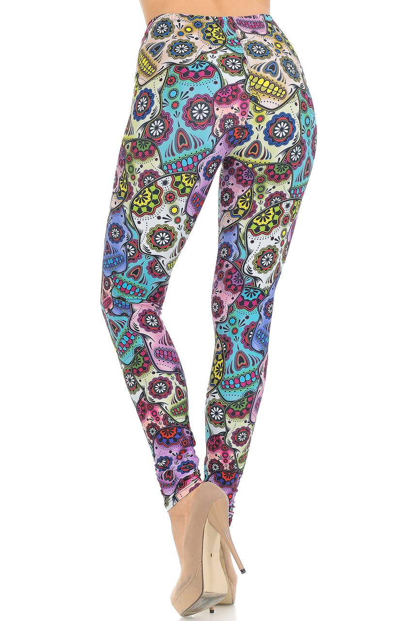 Back view of  Creamy Soft Sugar Skull Extra Small Leggings - USA Fashion™
