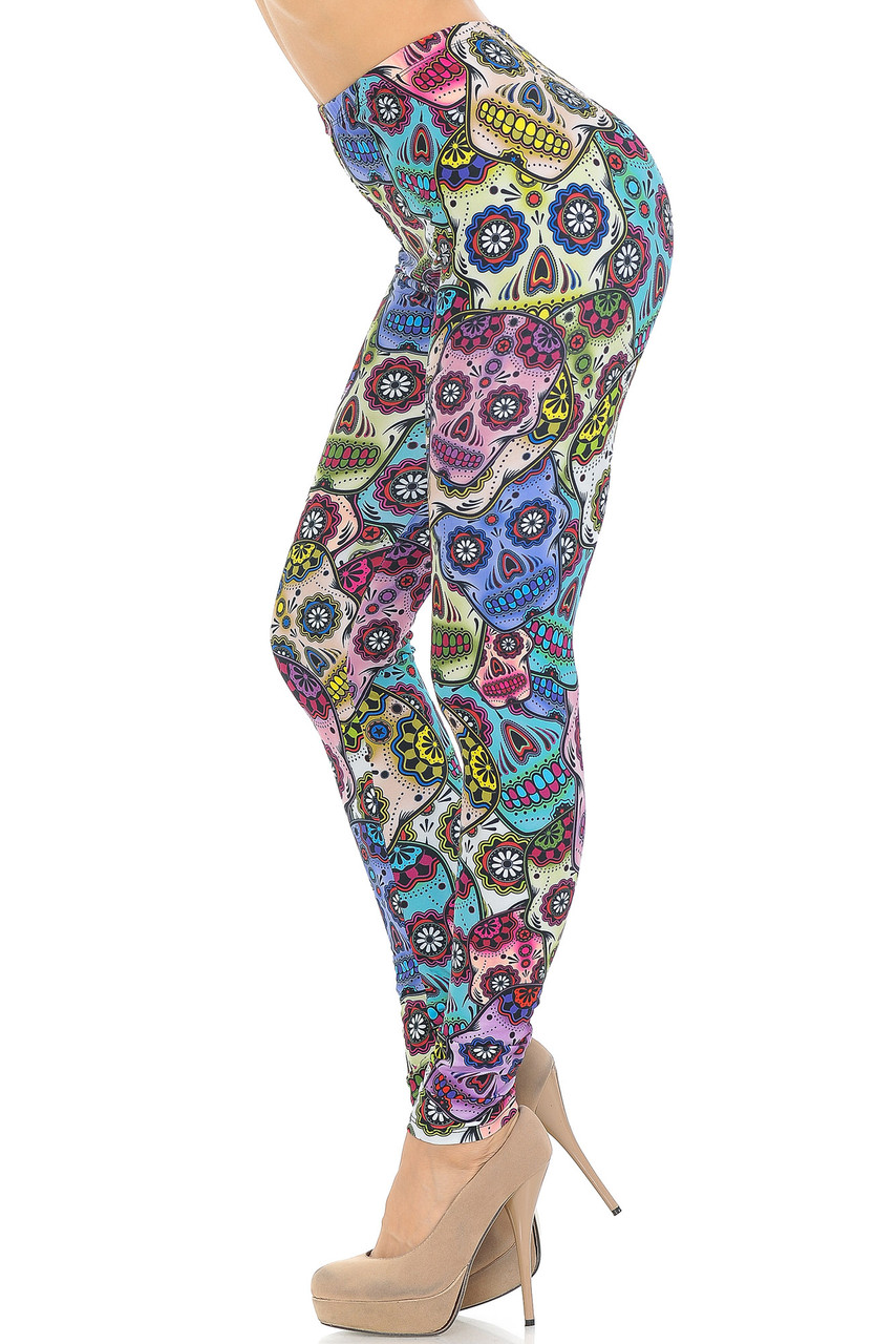 Left side of Creamy Soft Sugar Skull Leggings - USA Fashion™