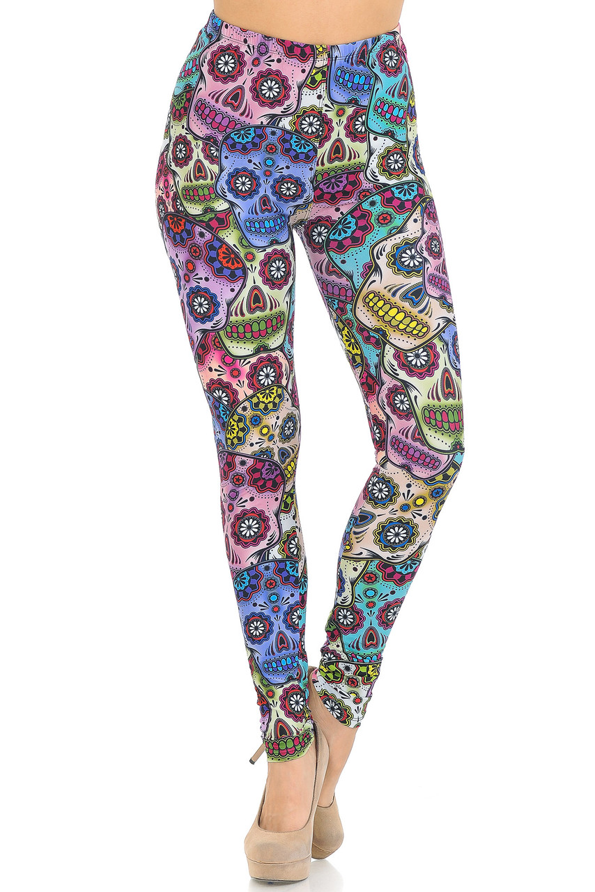 Front view of Creamy Soft Sugar Skull Leggings - USA Fashion™ with a mid rise comfort elastic waist.a