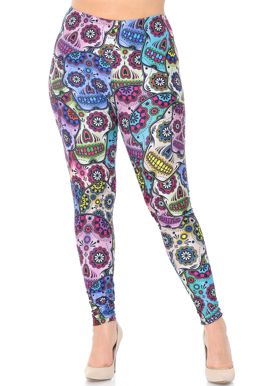 Front view of our Creamy Soft Sugar Skull Extra Plus Size Leggings - 3X-5X with a gorgeous print that is perfect for a fun look any time of the year.