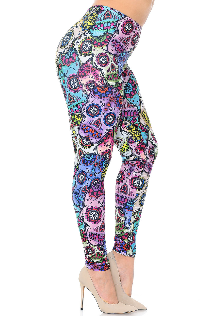 Right side view image of Creamy Soft Sugar Skull Extra Plus Size Leggings - 3X-5X