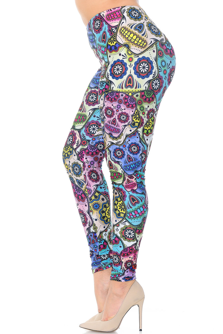 Left side view image of Creamy Soft Sugar Skull Extra Plus Size Leggings - 3X-5X