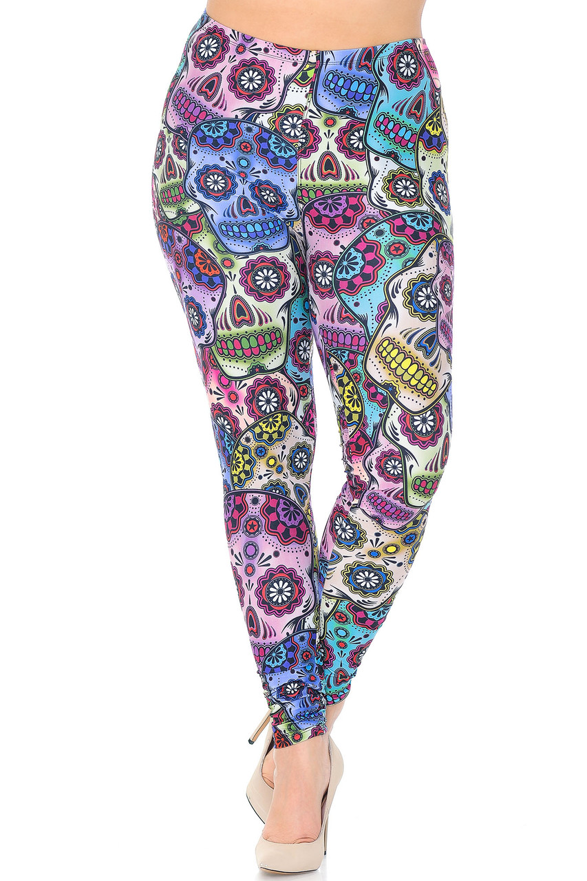 Front view of Creamy Soft Sugar Skull Extra Plus Size Leggings - 3X-5X with a mid rise comfort elastic waist.