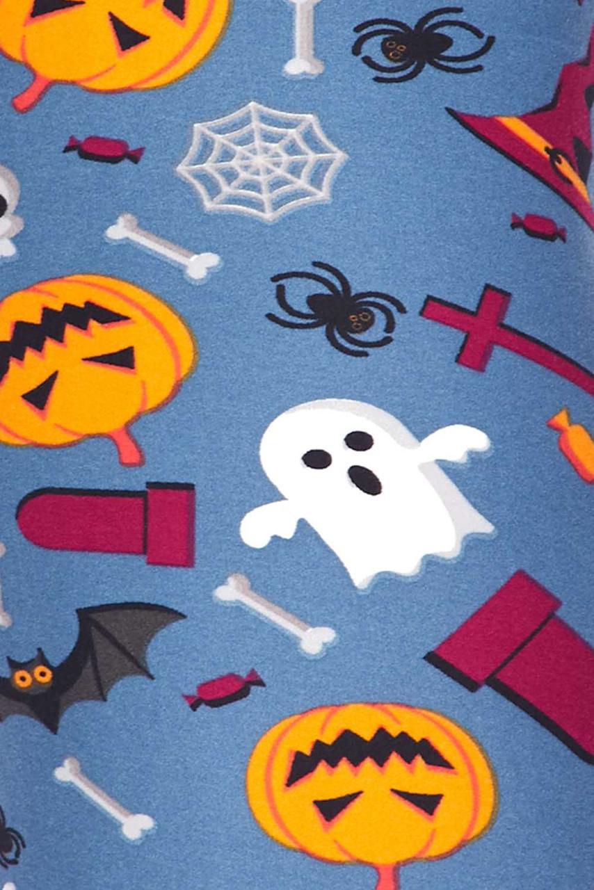 Close up fabric swatch of Buttery Soft Steel Blue Halloween Motif Kids Leggings
