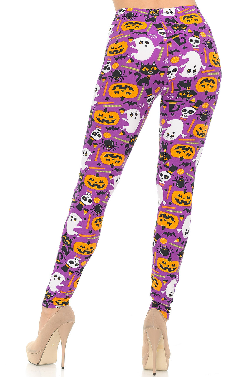 Rear view of our fitted Buttery Soft Magenta Scary Halloween Night Plus Size Leggings with a colorful look that will brighten up your fall outfits.