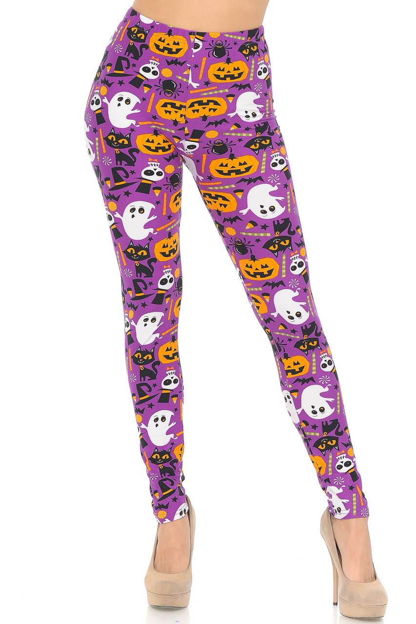 Front image of our full length Buttery Soft Magenta Scary Halloween Night Plus Size Leggings that will pair perfectly with a black, or orange sweater.