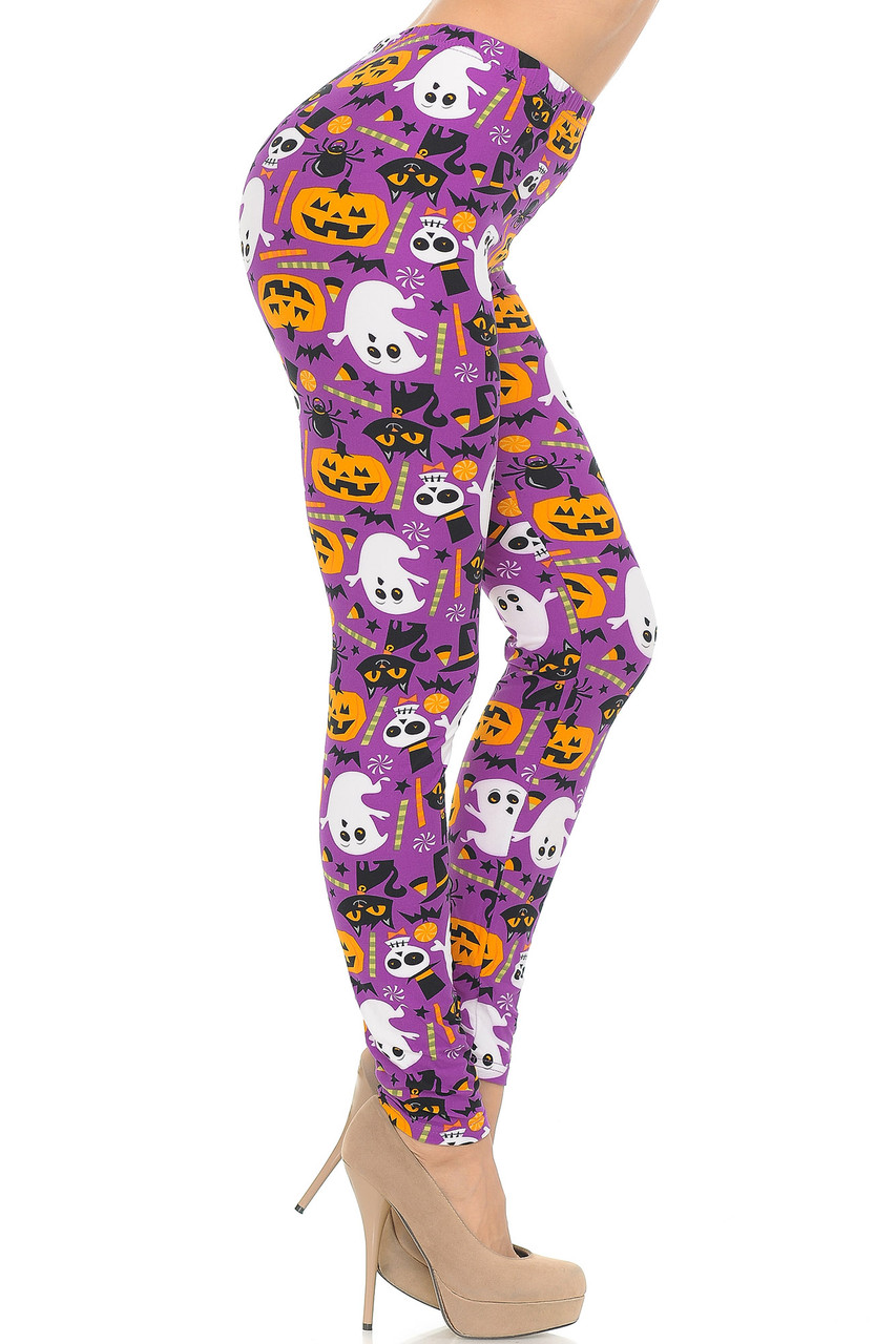 Right side view of Buttery Soft Magenta Scary Halloween Night Plus Size Leggings