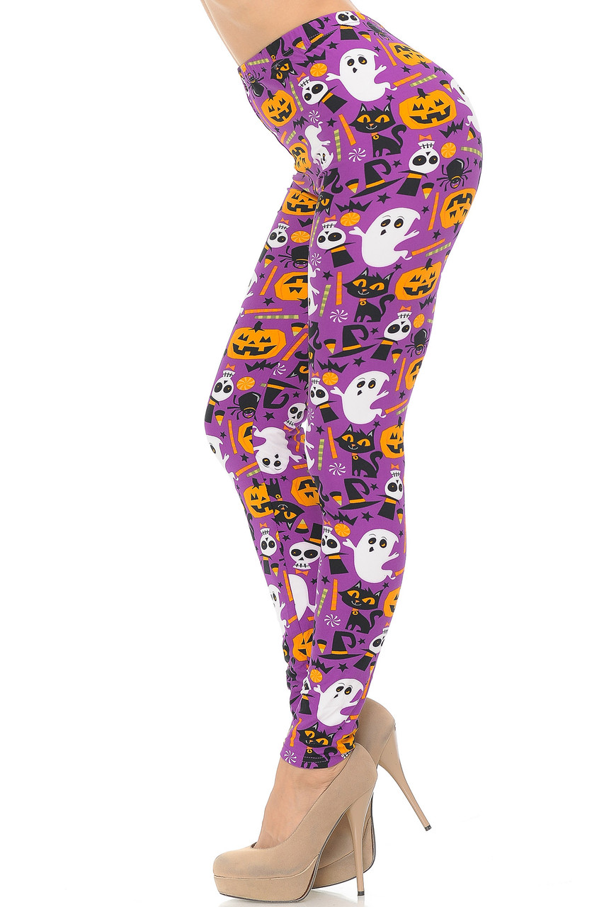 Left side view of Buttery Soft Magenta Scary Halloween Night Plus Size Leggings