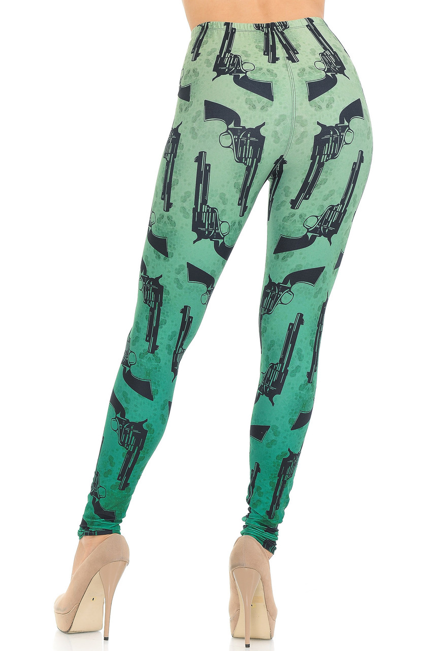 Rear view of our edgy and flattering Creamy Soft Ombre Green Guns Extra Small Leggings with a sexy body-hugging fit.