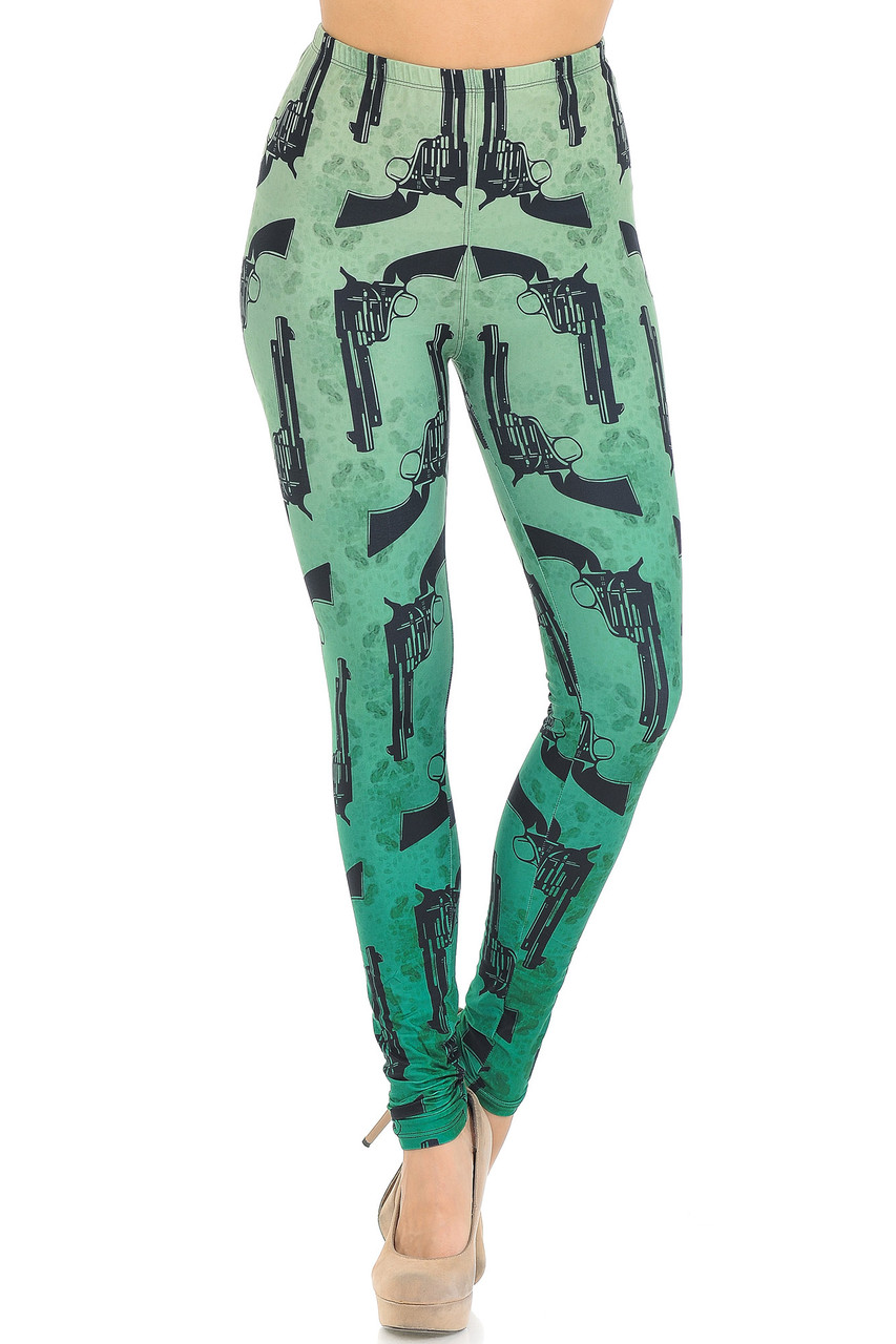 Front view of Creamy Soft Ombre Green Guns Extra Small Leggings  with an elastic comfort stretch waist that comes up to about mid rise.