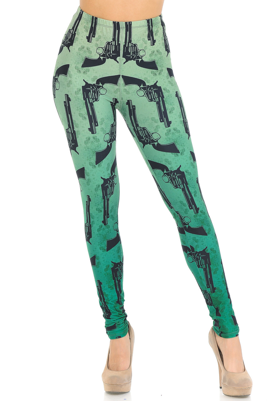 Front view of our full length skinny leg Creamy Soft Ombre Green Guns Leggings with a sassy look for any season.