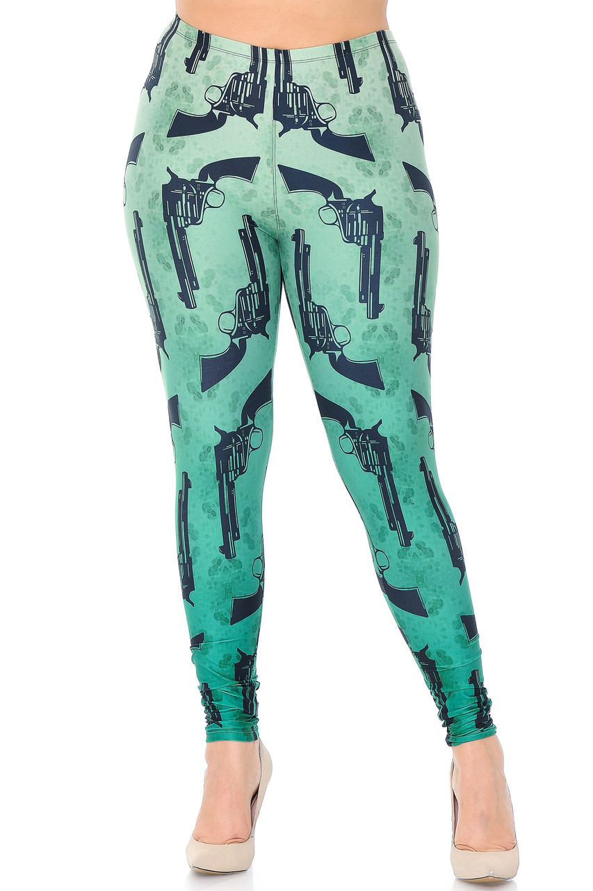 Front view of our full length skinny leg Creamy Soft Ombre Green Guns Extra Plus Size Leggings - 3X-5X with a sassy look for any season.