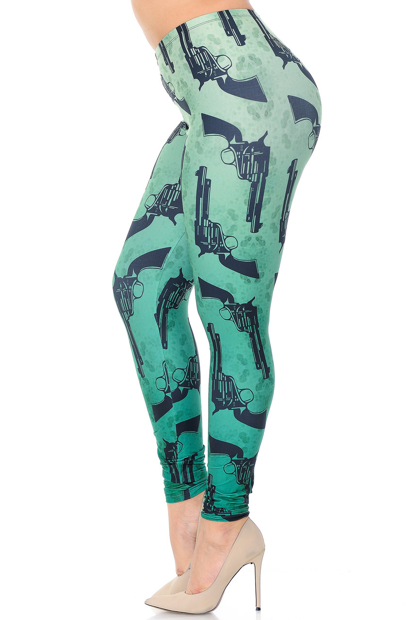 Left side view of Creamy Soft Ombre Green Guns Extra Plus Size Leggings - 3X-5X