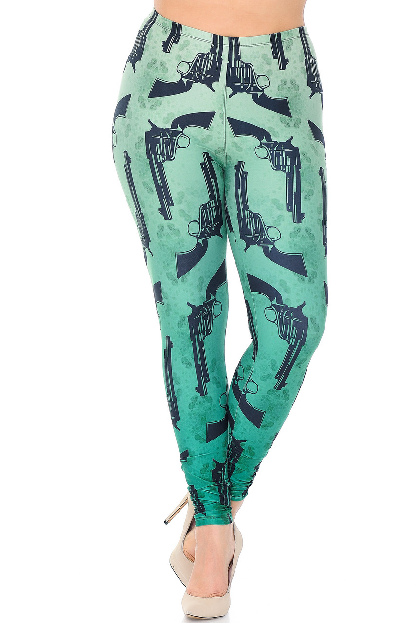 Front view of Creamy Soft Ombre Green Guns Extra Plus Size Leggings - 3X-5X with an elastic comfort stretch waist that comes up to about mid rise.