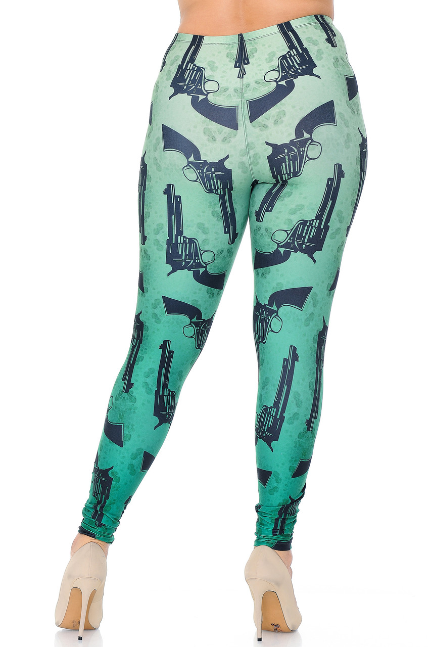 Rear view of Creamy Soft Ombre Green Guns Extra Plus Size Leggings - 3X-5X