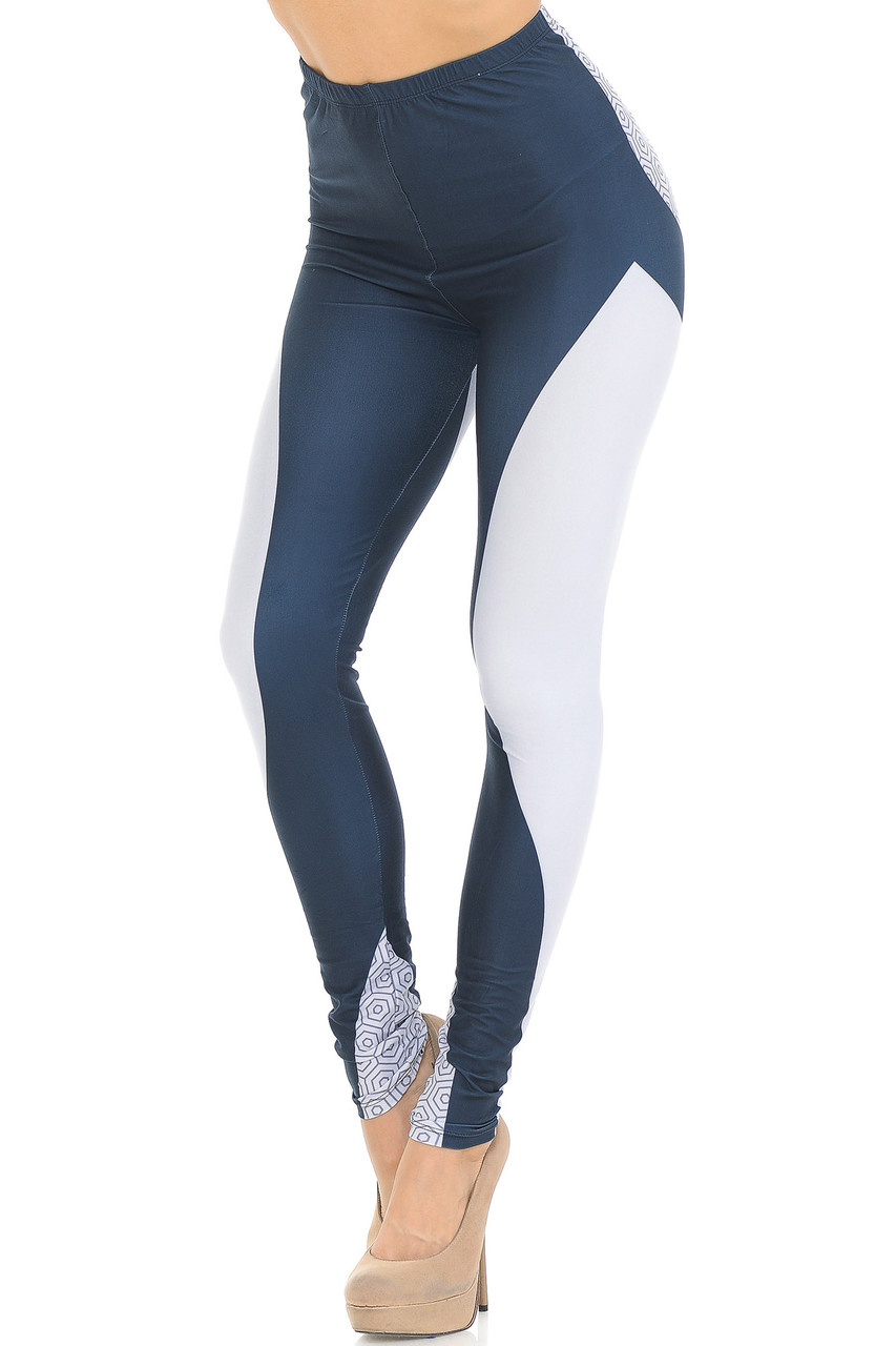 Front view of Creamy Soft Contour Curves Leggings  - USA Fashion™ with white panels that are body contouring and contrast a dark charcoal fabric base.