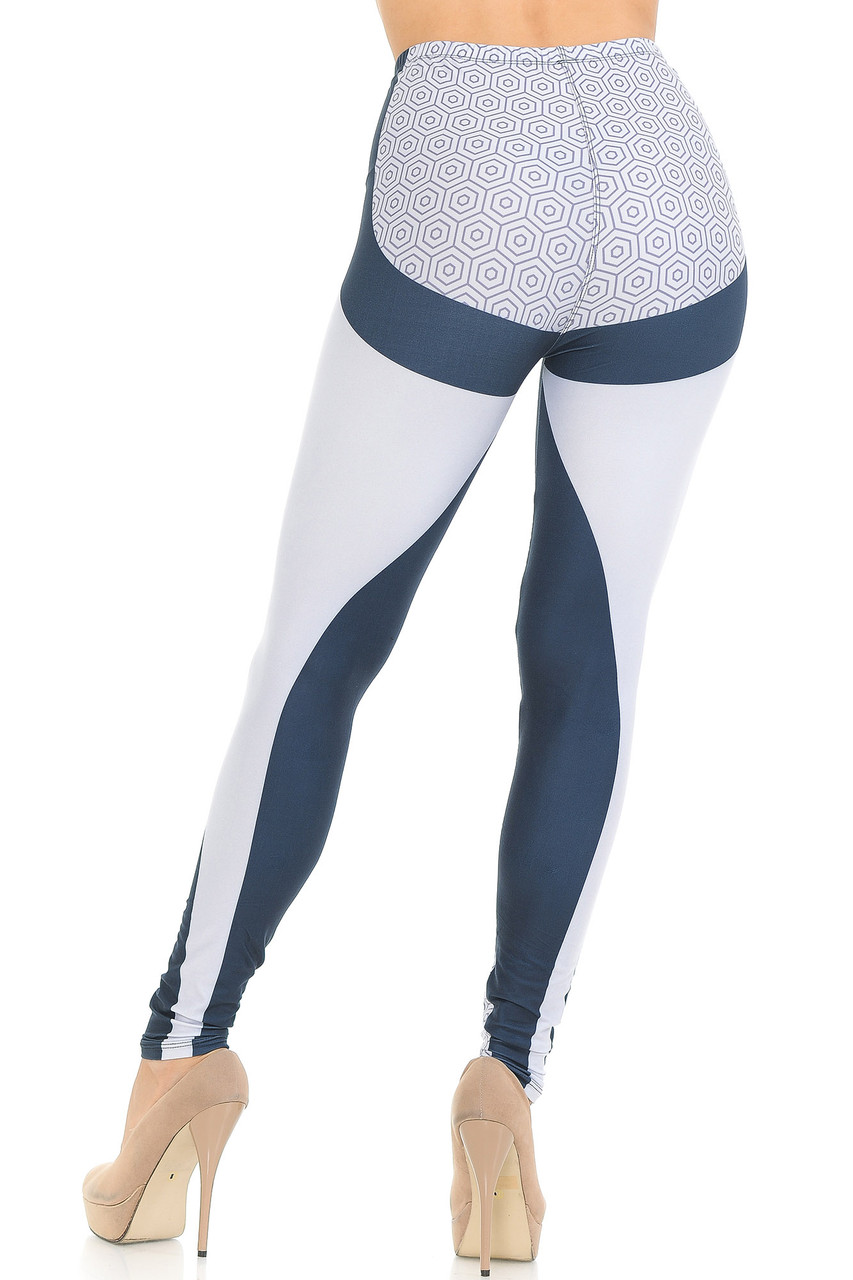 Back view of Creamy Soft Contour Curves Leggings - USA Fashion™  featuring more white panels and a polygon print on the rear that flatter, in addition to a body-hugging fit.