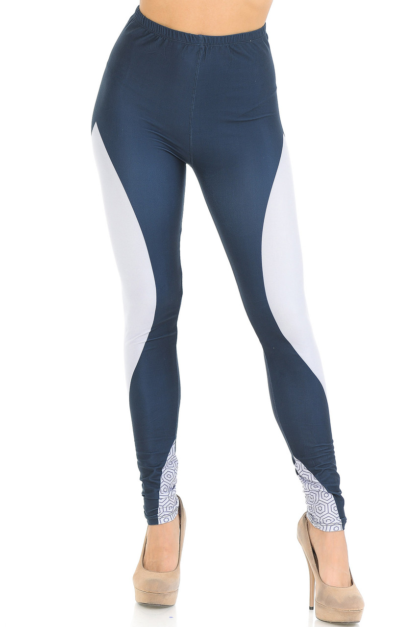 Front view of our Creamy Soft Contour Curves Leggings - USA Fashion™  that feature an elastic waistband that comes up to about mid rise.