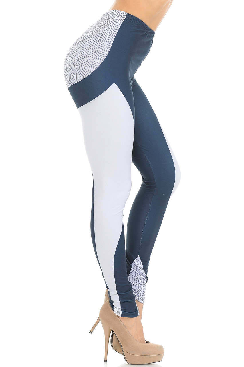 Right side view of Creamy Soft Contour Curves Leggings - USA Fashion™ featuring a white panel that goes from the top of the thigh to the bottom hem.