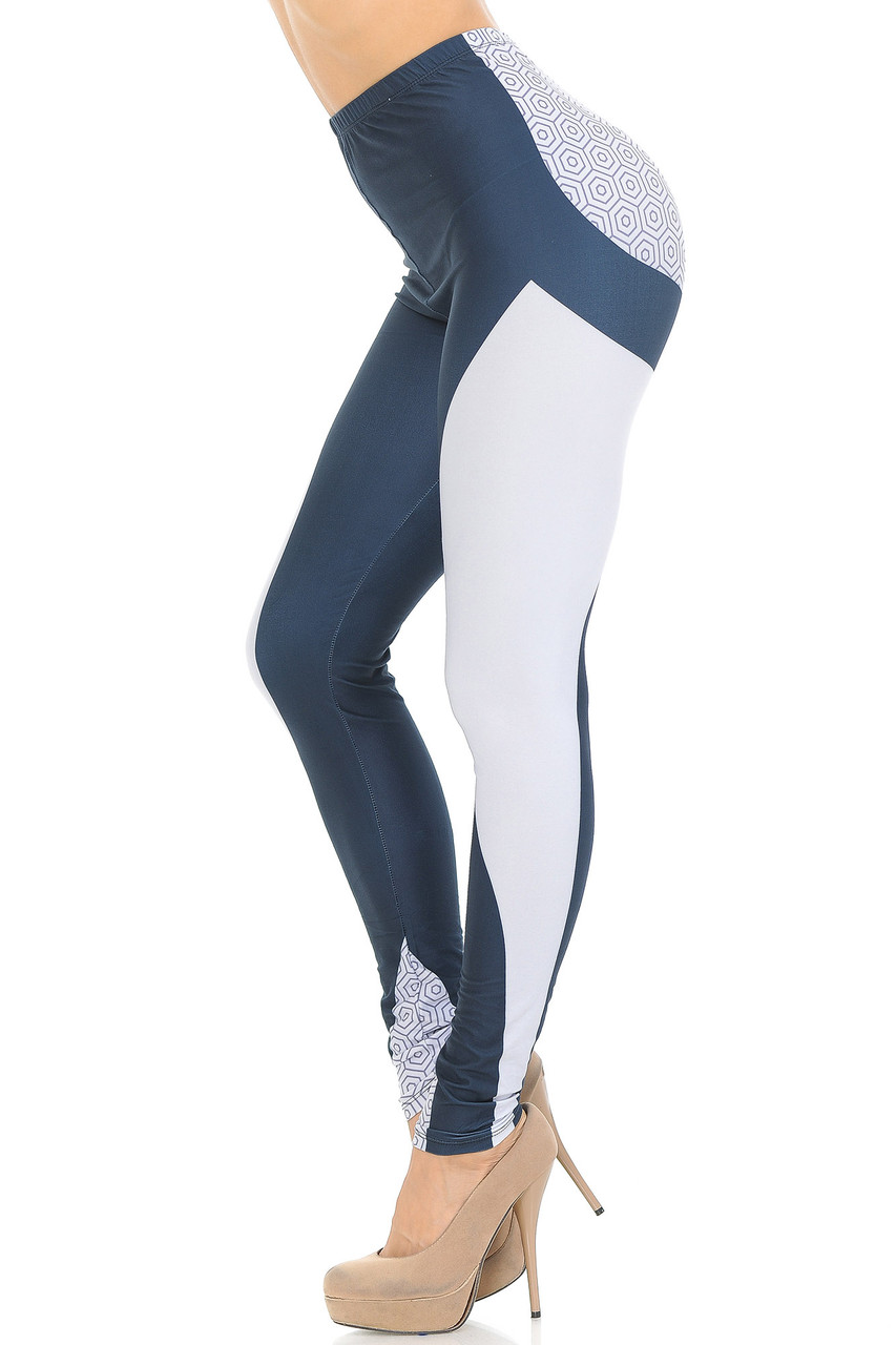 Left side view of Creamy Soft Contour Curves Leggings - USA Fashion™ featuring a white panel that goes from the top of the thigh to the bottom hem.