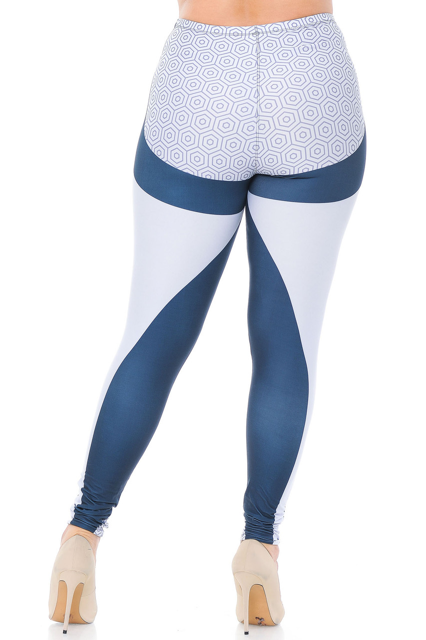 Back view of Creamy Soft Contour Curves Plus Size Leggings - USA Fashion™  featuring more white panels and a polygon print on the rear that flatter, in addition to a body-hugging fit.