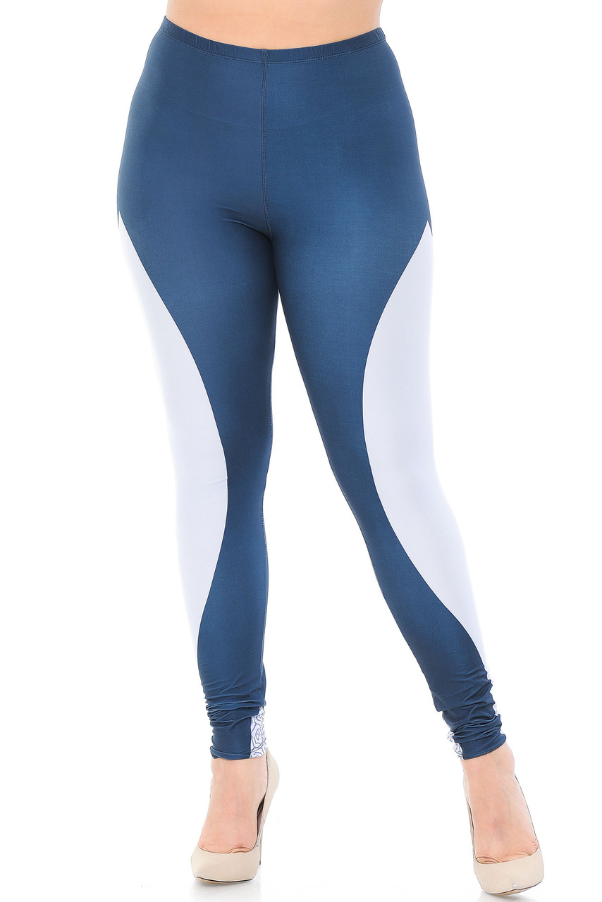 Front view of our Creamy Soft Contour Curves Plus Size Leggings - USA Fashion™  that feature an elastic waistband that comes up to about mid rise.