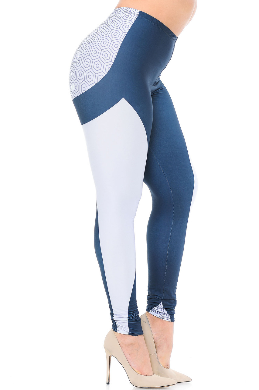 Right side view of Creamy Soft Contour Curves Plus Size Leggings - USA Fashion™ featuring a white panel that goes from the top of the thigh to the bottom hem.
