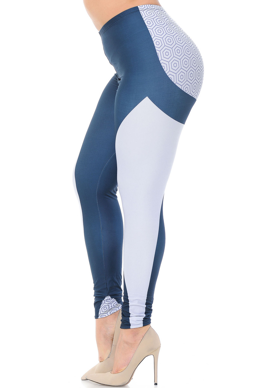 Left side view of Creamy Soft Contour Curves Plus Size Leggings - USA Fashion™ featuring a white panel that goes from the top of the thigh to the bottom hem.