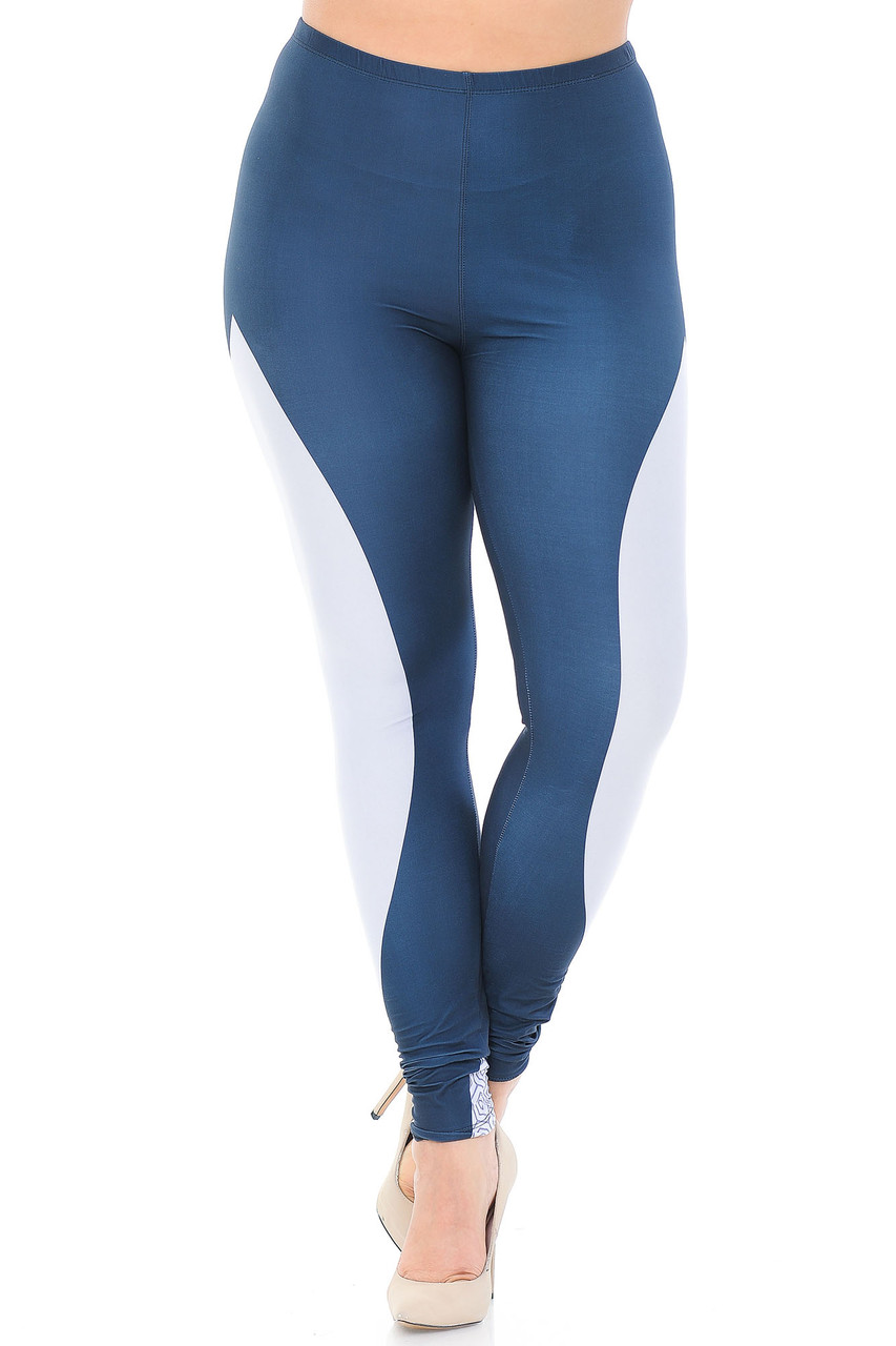 Front view of Creamy Soft Contour Curves Plus Size Leggings - USA Fashion™ featuring a skinny leg full length cut.