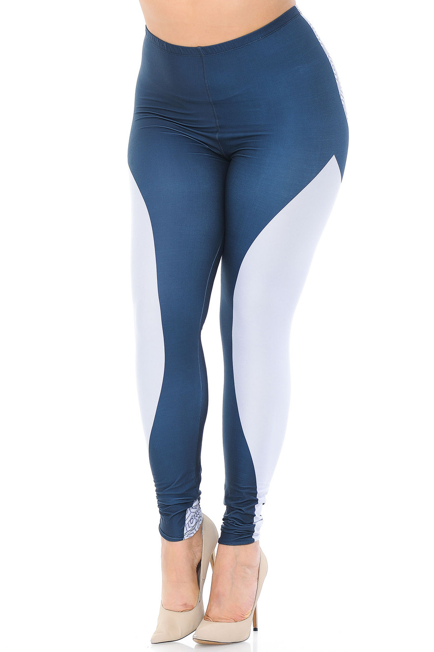 Front view of Creamy Soft Contour Curves Extra Plus Size Leggings - 3X-5X - USA Fashion™ with white panels that are body contouring and contrast a dark charcoal fabric base.
