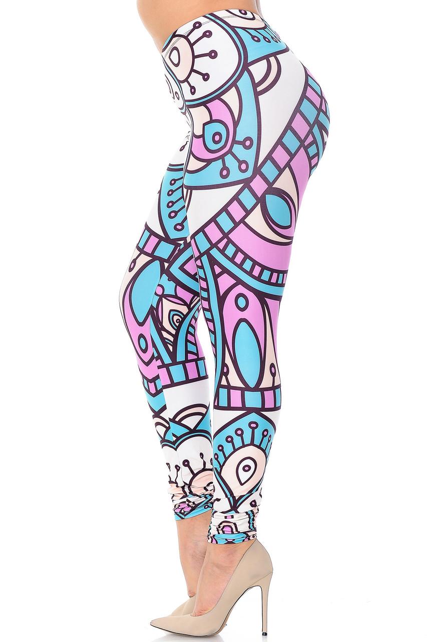 Left side view of Creamy Soft Cute Mandala Extra Plus Size Leggings - 3X-5X - USA Fashion™