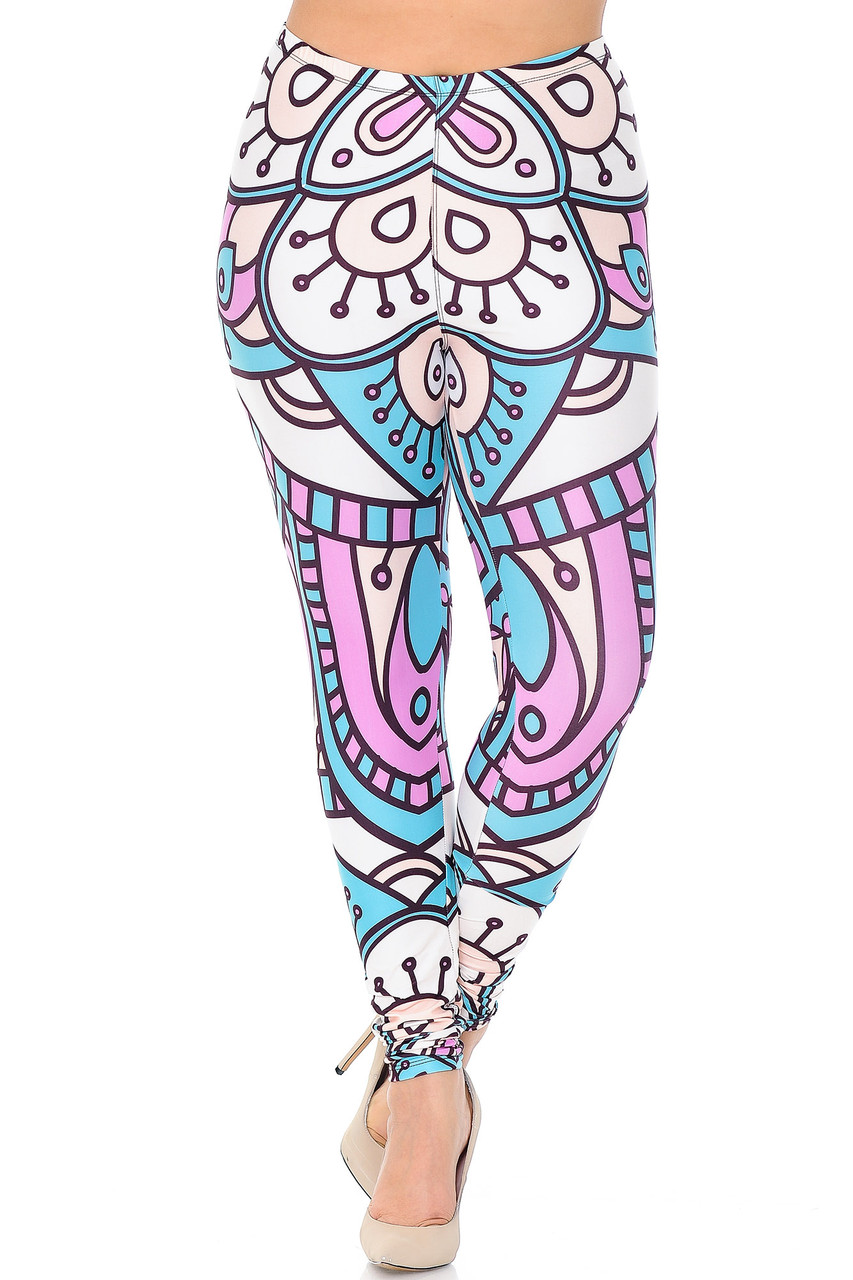 Front view of Creamy Soft Cute Mandala Extra Plus Size Leggings - 3X-5X - USA Fashion™ with a mid rise elastic waistband.