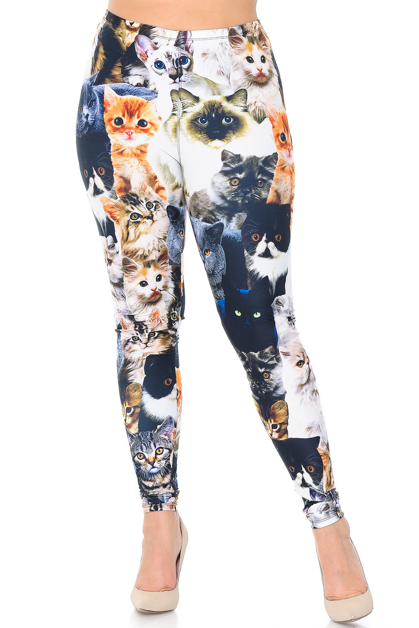 Front view of our Creamy Soft Cat Collage Plus Size Leggings  - USA Fashion™, perfect for creating fun and quirky stand out looks for any season.