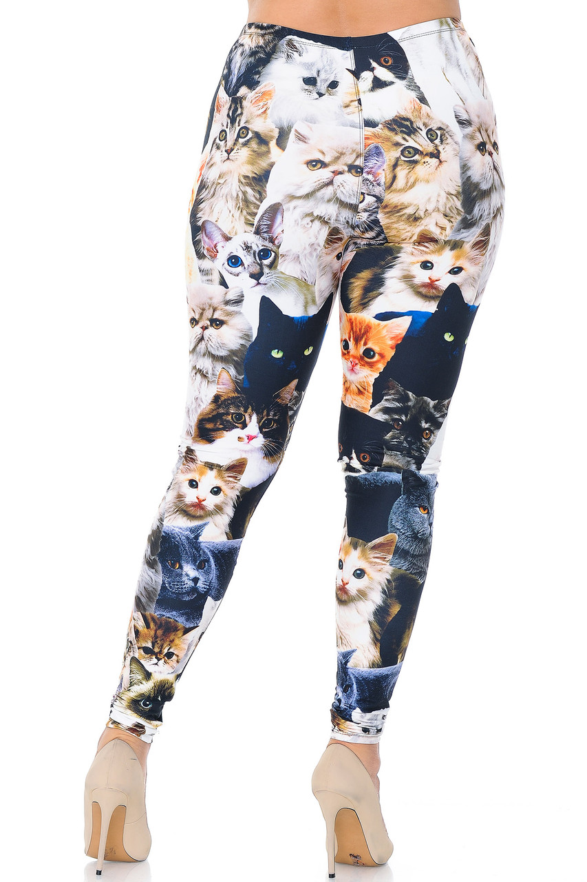 Back view image of Creamy Soft Cat Collage Plus Size Leggings - USA Fashion™
