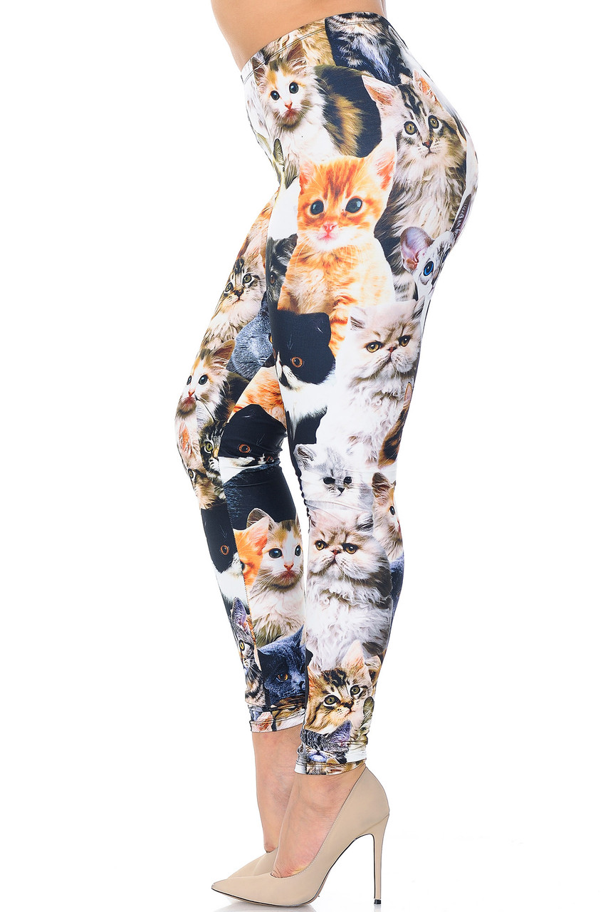 Left side view of Creamy Soft Cat Collage Extra Plus Size Leggings - 3X-5X - USA Fashion™
