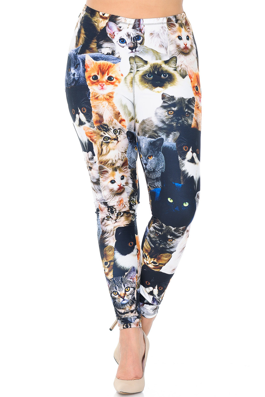 Front view of our Creamy Soft Cat Collage Extra Plus Size Leggings - 3X-5X - USA Fashion™ with an elasticized waist that comes to about mid rise.