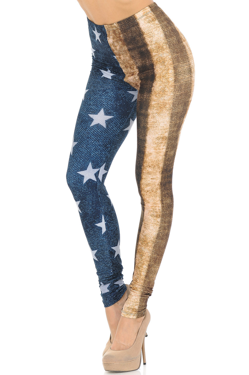 Left side right knee bent view of our Creamy Soft Vintage USA Flag Extra Small Leggings - USA Fashion™ with a rustic looking split leg American Flag design