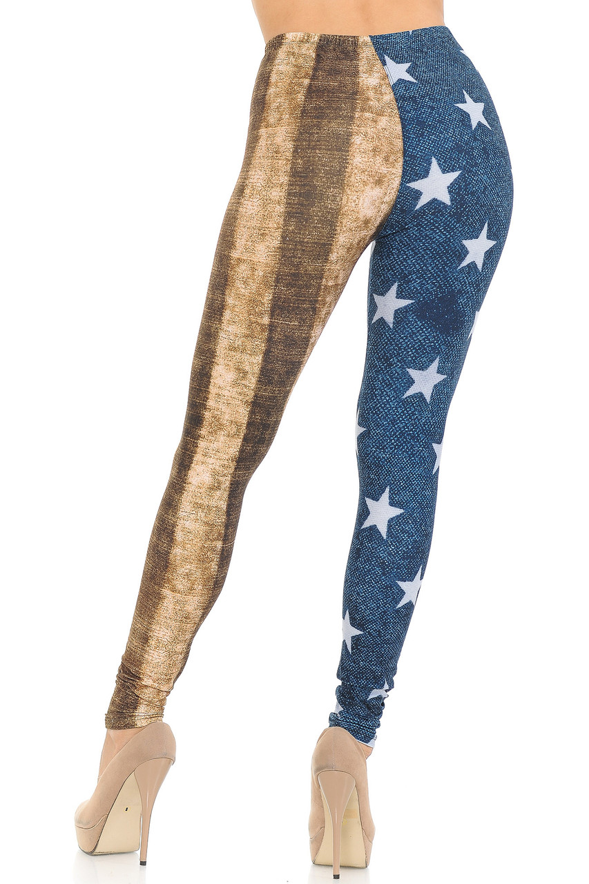 Rear view of Creamy Soft Vintage USA Flag Extra Small Leggings - USA Fashion™  featuring a flattering fit and a continued split leg design.