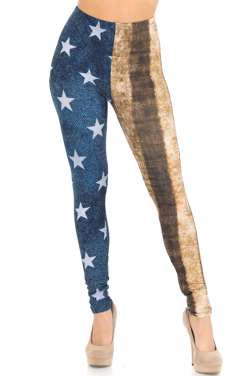Front view of mid rise Creamy Soft Vintage USA Flag Extra Small Leggings - USA Fashion™  with an elastic waist.