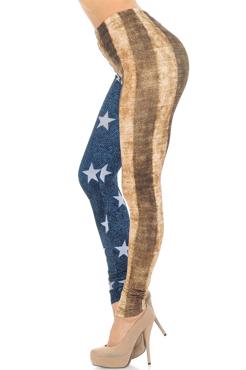 Left side view of Creamy Soft Vintage USA Flag Extra Small Leggings - USA Fashion™ showing a beige and brown contrast vertical stripe design.