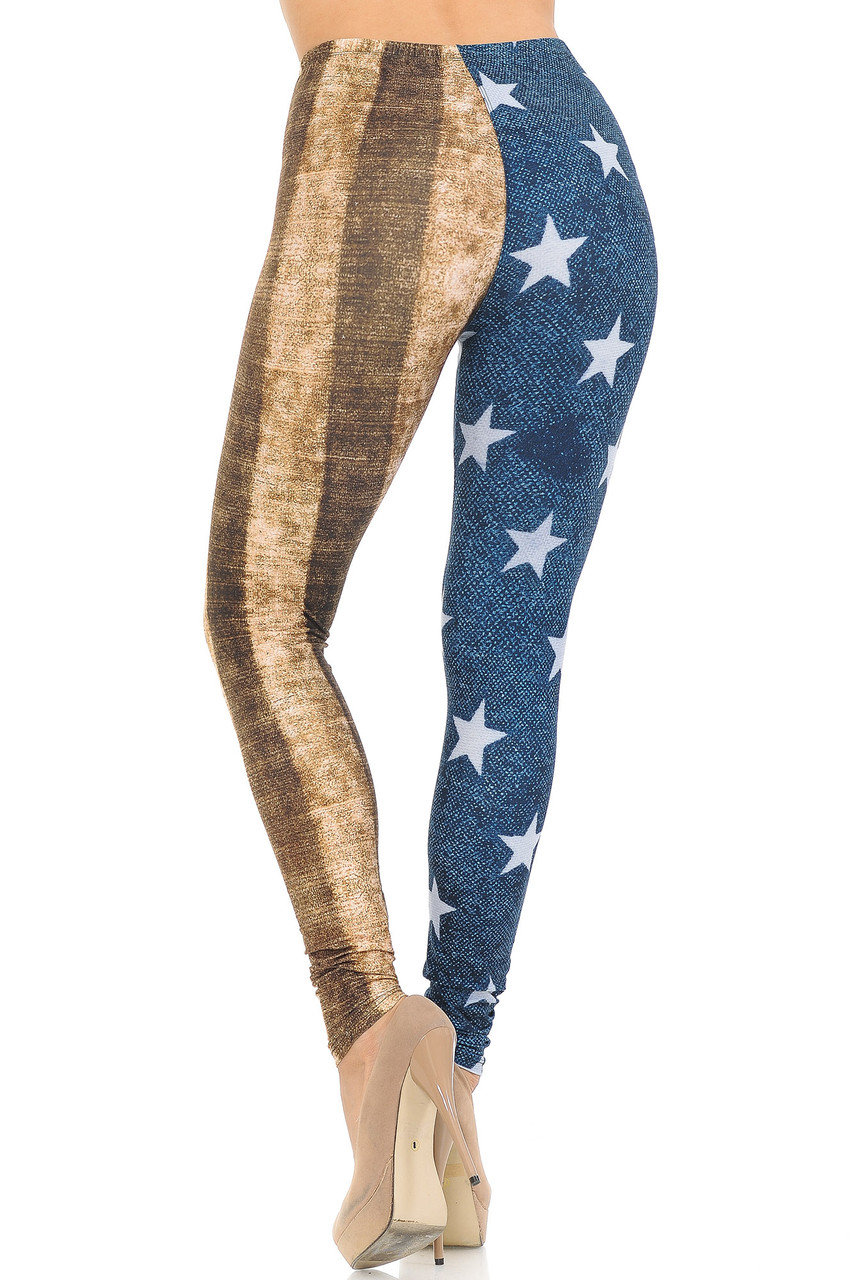 Rear view of Creamy Soft Vintage USA Flag Extra Small Leggings - USA Fashion™