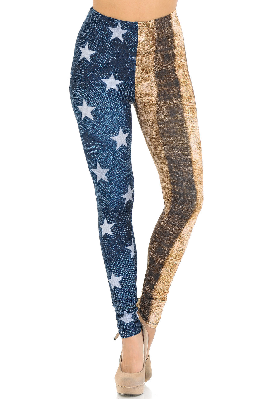 Front view of Creamy Soft Vintage USA Flag Extra Small Leggings - USA Fashion™