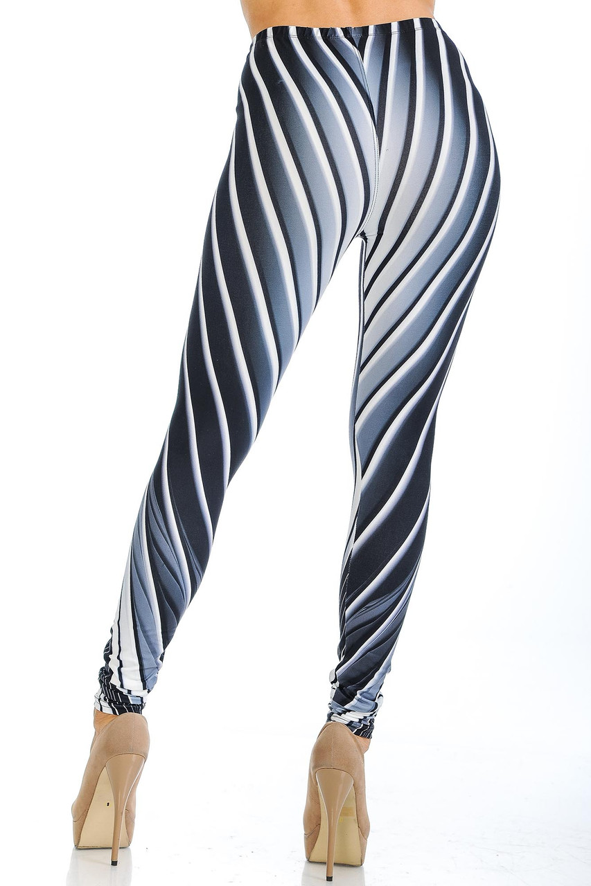 Rear view of Creamy Soft Contour Body Lines Extra Small Leggings - USA Fashion™ with a flattering design and body-hugging cut that work together to create a stunning look and fit.