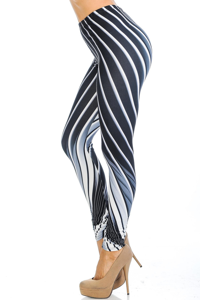 Left side view of Creamy Soft Contour Body Lines Extra Small Leggings - USA Fashion™
