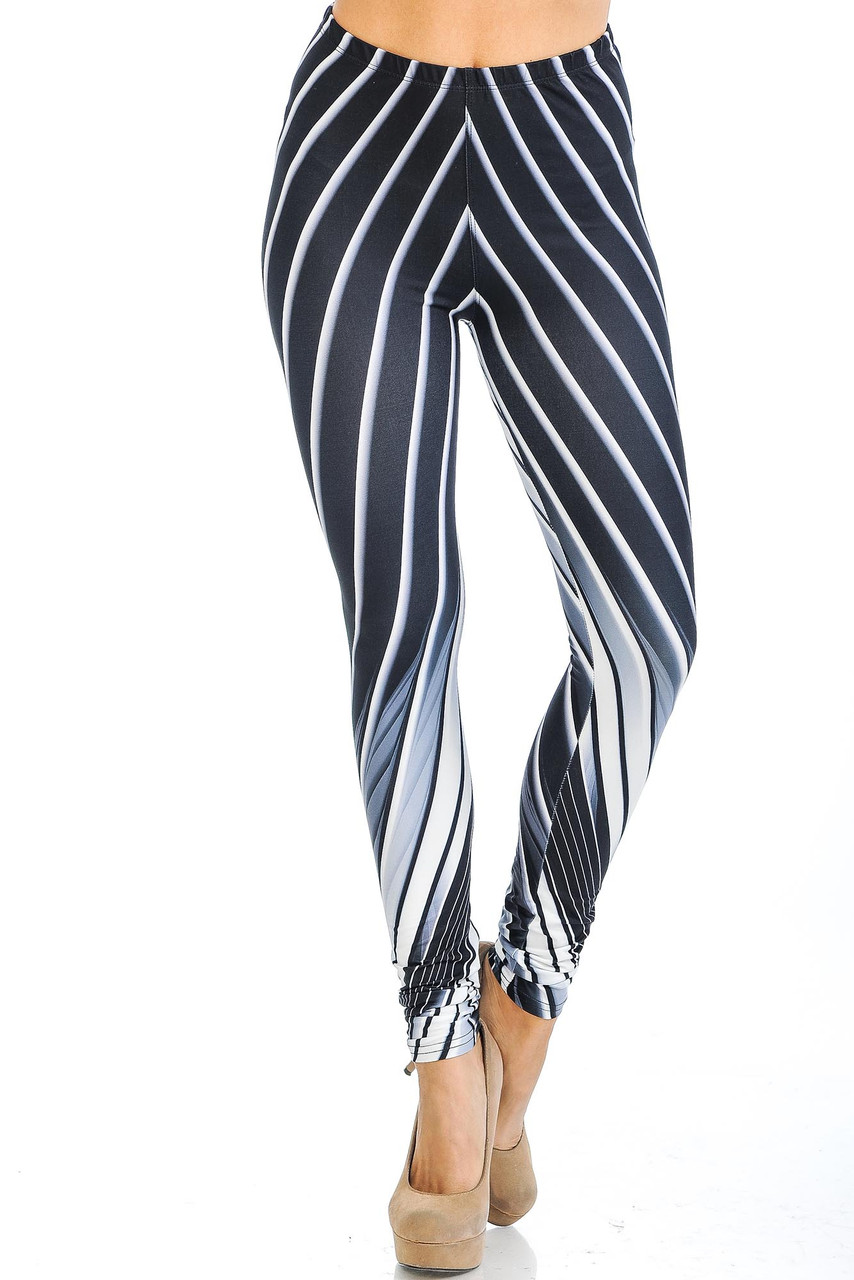 Front view of our mid rise Creamy Soft Contour Body Lines Leggings - USA Fashion™ with an elastic waistband.